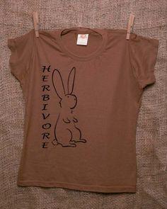 Vegan Vegetarian Herbivore Bunny Rabbit 100% Certified Organic Cotton T Shirt Women's Made in the USA Screen Printed Black on Mocha Brown