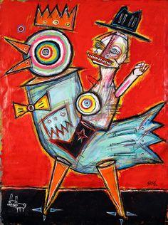 """cowboy chicken"" by matt sesow.  oil/mix on canvas, 2014"