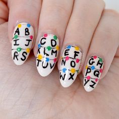 Stranger Things nail art by Talonted Lex. If you haven't seen Stranger Things where have you been? Millie Bobby Brown and Winona Ryder are incredible! Cute Acrylic Nails, Cute Nails, My Nails, Ongles Funky, Nail Manicure, Nail Polish, Manicure Ideas, Just In Case, Just For You