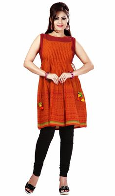 Classic orange printed cotton kurti is a formal kurti. The kurti has A-line cut which is garnished with pleats and block print which makes you too look quite stylish and graceful. #StylishClassicalKurtis
