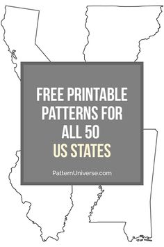 Free printable patterns for all 50 states in the US. - stuff - Free printable patterns for all 50 states in the US. The patterns can be used as coloring pages, fo - Free Applique Patterns, Scroll Saw Patterns Free, Paper Piecing Patterns, Stencil Patterns, Applique Tutorial, Applique Designs, Embroidery Designs, Quilting Templates, Scrappy Quilts