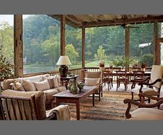 Suzanne Kasler : Smokey Mountains cabin : The Enchanted Home: Dream screened-in porch. (Screened cabin on the edge of the lake) Architectural Digest, Casa Patio, Deck Patio, Enchanted Home, Plantation Homes, Lake Cottage, Cottage Porch, Screened In Porch, Enclosed Porches