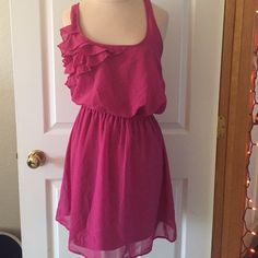 NWT Fuchsia Cross Back Holiday Dress Adorable dress with tags still attached. In perfect condition. Perfect for the holidays!  Dresses Mini
