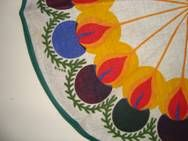Retro Christmas swedish textile tablecloth - 1970es. Material is linen. D: 29 cm.  #retro #swedish #christmas #textile #1970 #svensk #jul #tekstil #dug #eivordys From www.trendyenser.com. SOLGT.