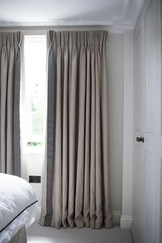 plain linen border curtains - Google Search bedroom master                                                                                                                                                                                 More