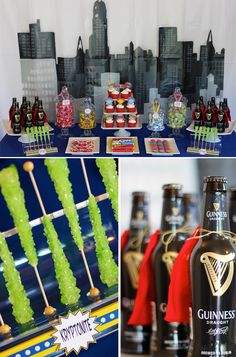 Gotham Superhero Dessert Table: love the fabric/felt capes tied onto the (beer for adults) bottles...who says grown ups can't have superhero parties?!  :)