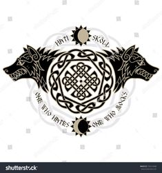 Two wolves from Norse mythology, Hati and Skoll de. - Two wolves from Norse mythology, Hati and Skoll de… – Two wolves from Norse mythology, Hati and Skoll de… – Two wolves from Norse mythology, Hati and Skoll de. - Two wolves from Norse Runes, Viking Symbols, Viking Runes, Norse Mythology Tattoo, Norse Tattoo, Trendy Tattoos, New Tattoos, Tattoos For Women, Fenrir Tattoo