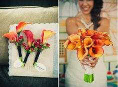 orange cala lilies and simple bouquets