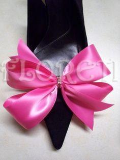 Sassy Designer Shoe Bow Clips Hot Pink Satin Gifts Swarovski Crystals | Floreti - Accessories on ArtFire. $30.78