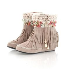 Grace Candy  Rosette-Detail Fringed Boots