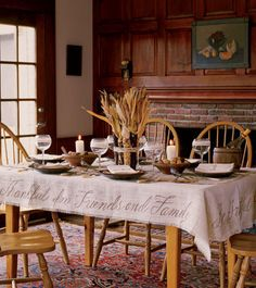 I want to make this tablecloth. I think all I would need is burlap from Home Depot and some stencils...