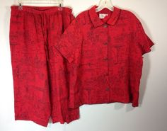 3f40cb5a77 Hot Cotton Linen 2 Piece Pants Top Red Black City New York Size XL Made In