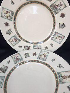 Disney Winnie the Pooh 100 Acre Woods Fall Leaves Set 2 Stoneware Dinner Plates  | eBay