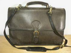 Vintage Made in USA All Black Soft Leather Attorney Lawyer Shoulder Bag Messenger Business School Briefcase