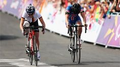 Silver medallist Denise Schindler of Germany sprints against bronze medallist Allison Jones (R) of the USA to the finish line in the women's Individual C1-3 Road Race on Day 8 of the London 2012 Paralympic Games at Brands Hatch.