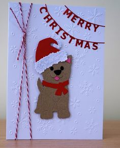 Handmade Christmas Card - Cottage Cutz Dog / Puppy Die                                                                                                                                                                                 More
