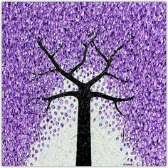 New - Jacaranda Tree - Falling Flowers textural abstract. 61cm x 61cm. Living in South Australia our city suburbs are lined with amazing flowering Jacarandas. A magnificent flowering tree that brings a lot of joy for those traveling the areas.
