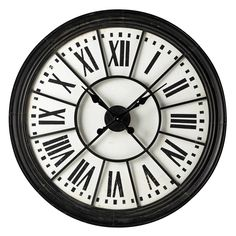 Mix-and-match furniture & decor Big Clocks, Metal Clock, Vintage, Wall, Black, Medium, Industrial Style, Large Clock, Black Metal