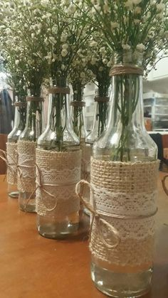 Red Party Decorations, Princess Birthday Party Decorations, Wedding Shower Decorations, Lace Mason Jars, Mason Jar Crafts, Bottle Crafts, Wedding Vases, Rustic Wedding Centerpieces, Fall Deco Mesh