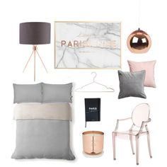 Blush, copper, grey & marble bedroom planning by loissteele on Polyvore featuring interior, interiors, interior design, home, home decor, interior decorating, Kartell, Tom Dixon, H&M and bedroom