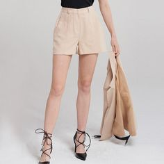 27199df6e60 HDY Women 2018 Casual Loose Short Wide Leg Shorts High Street Office Lady  Solid Apricot Hot