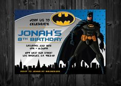 Personalized Batman Birthday Invite - Digital Download • Front and Back side • Color, Wording and Font are all customizable • Specify: -