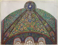 Rooke, Thomas Matthews - Drawing of Mosaics in the Vault of the Chancel of San Vitale, Ravenna