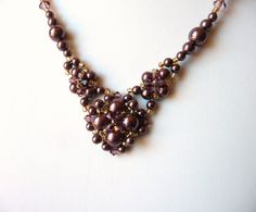 Burgundy and Gold Pearl Necklace, Swarovski Jewelry Necklace, Mother of the Bride Jewelry, V Shaped Necklace, Costume Jewelry