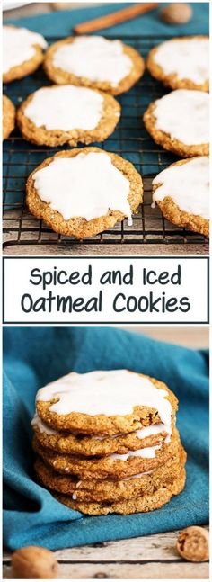 These spiced and iced oatmeal cookies are soft and chewy, loaded with cinnamon, brown sugar, ginger, and nutmeg, and topped with sweet icing. via @berlyskitchen