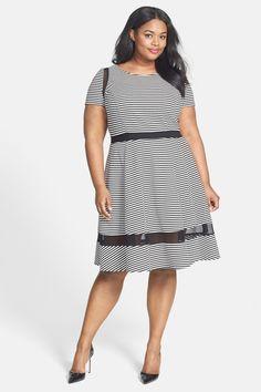 ABS by Allen Schwartz Mesh Inset Stripe Fit & Flare Dress (Plus Size) by ABS on @nordstrom_rack