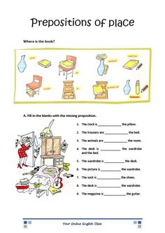 english grammar prepositions of place worksheets for kids (ESL/ELL)