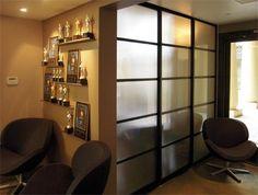 """Home Room Divider —1.5"""" Frame, Black Finish, Pentagon Design, Frosted Glass"""