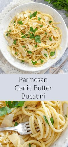 Garlic Butter Bucatini - Dinner -Parmesan Garlic Butter Bucatini - Dinner - This pasta gets its nice green hue thanks to the poblanos and cilantro. This one-pot pasta dish is rich and very simple to make. Garlic Butter Pasta Sauce, Easy Pasta Sauce, Garlic Pasta, Parmesan Sauce, Pasta Side Dishes, Pasta Sides, Food Dishes, Italian Recipes, Appetizers