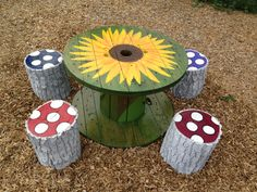 "Spool table and ""toadstools"""