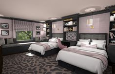 Girls Bedroom 3D Rendering