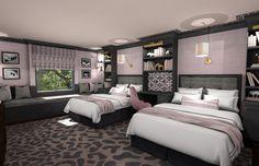 Girls Bedroom 3D Rendering