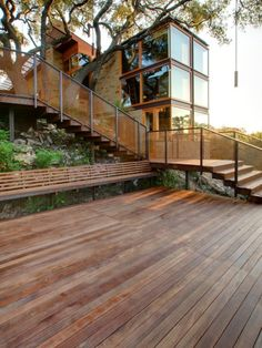 Architecture, Awesome Industrial Landscape With Steel Architecture Ideas Also Long Wooden Garden Chair Also Wooden Deck And Charming Staircase To Entrance Also Modern House Design: Attractive Modern Steel Architecture Ideas Modern Landscape Design, Modern Landscaping, Modern House Design, Garden Landscaping, Wooden Garden Chairs, Wood Patio, Deck Stairs, Deck Lighting, Lighting Ideas