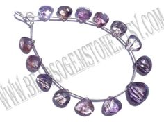 Moos Amethyst Faceted Heart Quality AA / 18 cm / by beadsogemstone, $40.50
