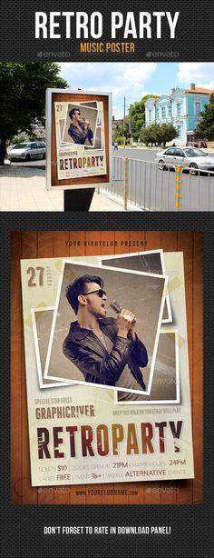 Retro Party Poster V2 - Signage Print Templates