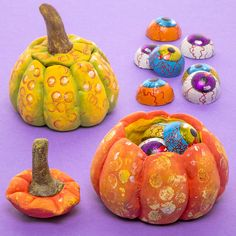 clay. pumpkin pots with lids