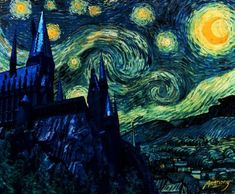 hogwarts Beyond epic! Two of my favorite things (Starry Night and Harry Potter). Does anyone know where I could get one? Haha