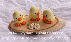 Fimo : trio de poussins - Peinture-modelage, le blog des créations fimo et peintures de Myriam LAKRAA