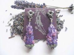 Blooming Lavender Glass Bead Earrings in Purple Rose by LavenderJewelry