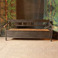 This is a lovely old bench, the pine has great aged character. The legs are hardwood, and the colour is rich and layered. Storage within. Low arms make this bench suitable to go alongside a table. Grey Benches, Entryway Bench Storage, Pine Furniture, Rustic Bench, Bench Seating Kitchen, Old Benches, Bench, Vintage Fireplace, Painted Benches