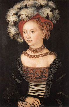 ▴ Artistic Accessories ▴ clothes, jewelry, hats in art - Lucas Cranach (and his workshop) | Portrait of a Young Woman, 1530