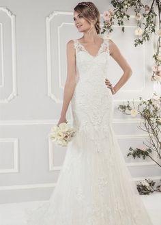 Ellis Bridals 11433 available at Limelight Occasions. #ellisbridals #limelightoccasions #vneckdress #lacedress #bridal #weddingdress #wedding