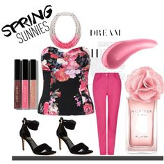 Floral Top and Pink Pants For Spring by mstese on Polyvore featuring Dash, Ivanka Trump, Saloukee, Bobbi Brown Cosmetics, Urban Decay and Tommy Hilfiger