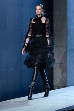 Fashion Blogger Style, Fashion Show, Fashion Design, Fashion Trends, Modern Goth, Elie Saab Fall, Black Lace Blouse, Vogue Australia, Gothic Fashion