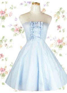 Light Blue Cotton Strapless Pintucked Sweet Lolita Dress
