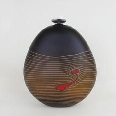 Terrain purple flat vase - Large in hand-blown glass by Robert Wynne, Denizen Glass Design